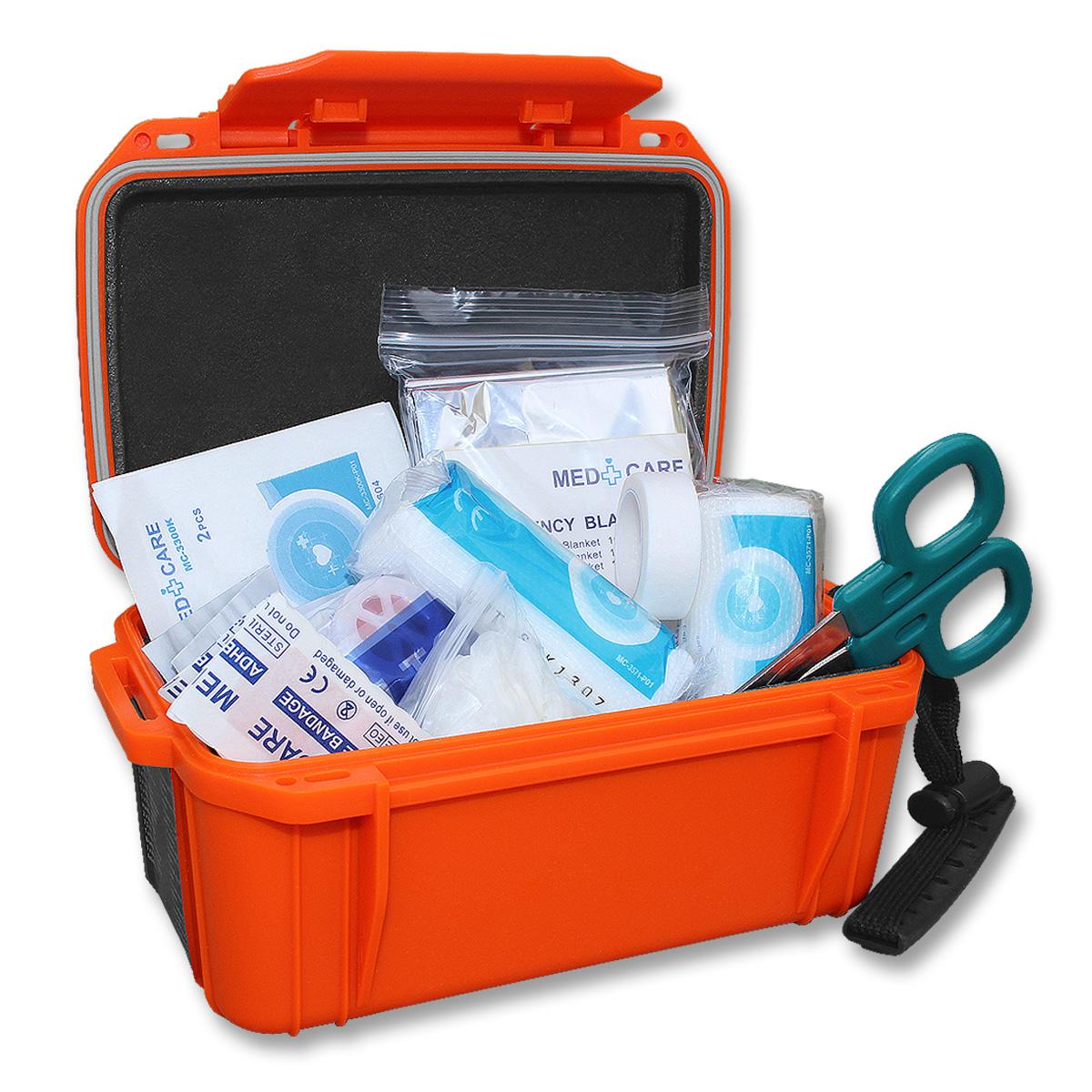 Førstehjelp-sett i vanntett boks