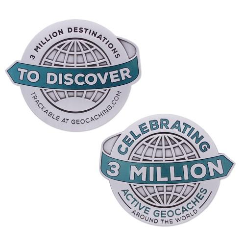 3 Million Geocaches Geocoin- Antique Silver