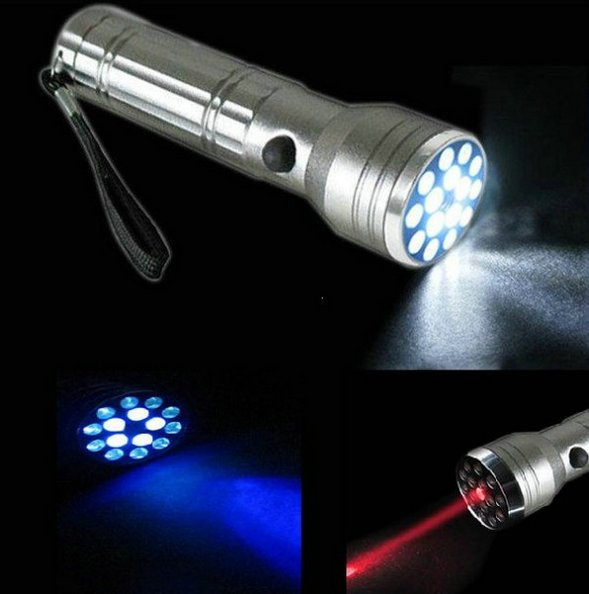 LED lykt - All in one – rød laser + hvitt lys + UV lys