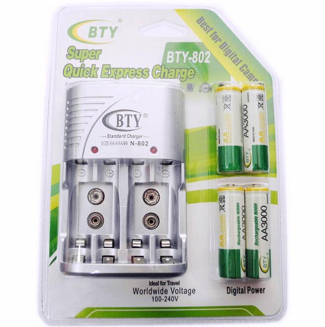 Batterilader multi funksjon med 4 stk AAA batterier