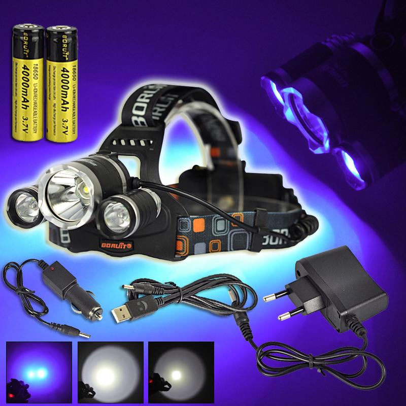 Hodelykt hvit lys og UV lys med ladere, bil lader og batterier