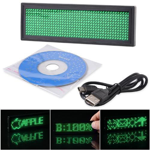 Navnbrikke i grønn LED - Programerbar