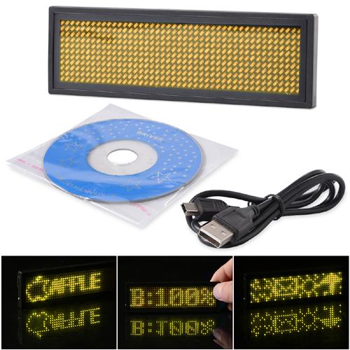Navnbrikke i gul LED - Programerbar