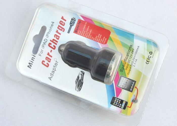 USB lader til 12 volt - Dobbel utgang . 2,1 A Blue light