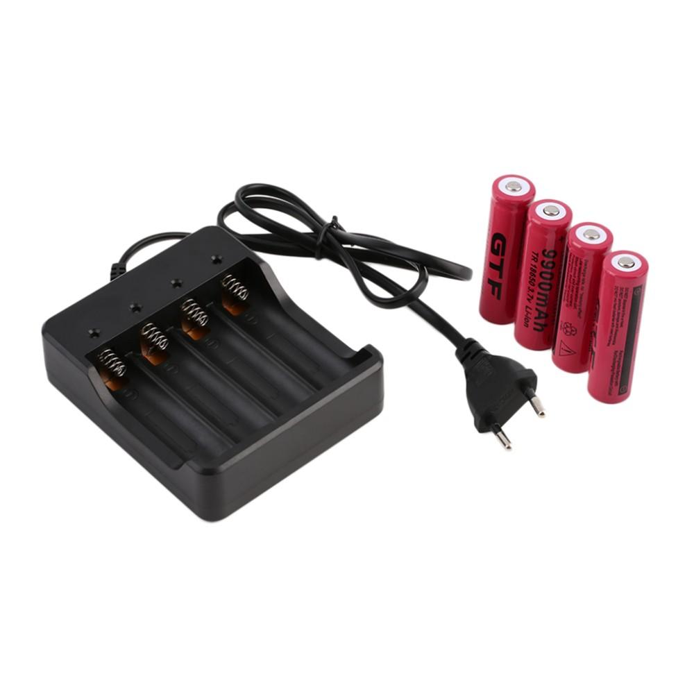 Batterilader 4 x 18650 inklusive 4 stk batterier