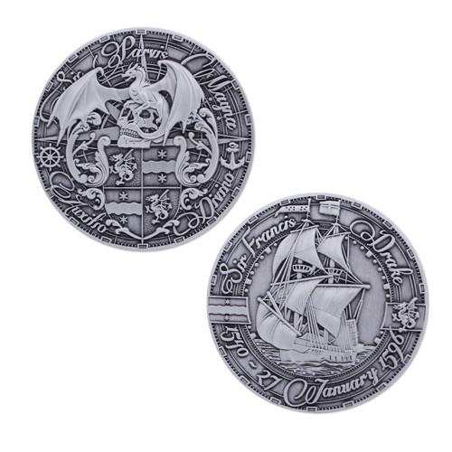 Pirate's Day Geocoin - Antique Silver