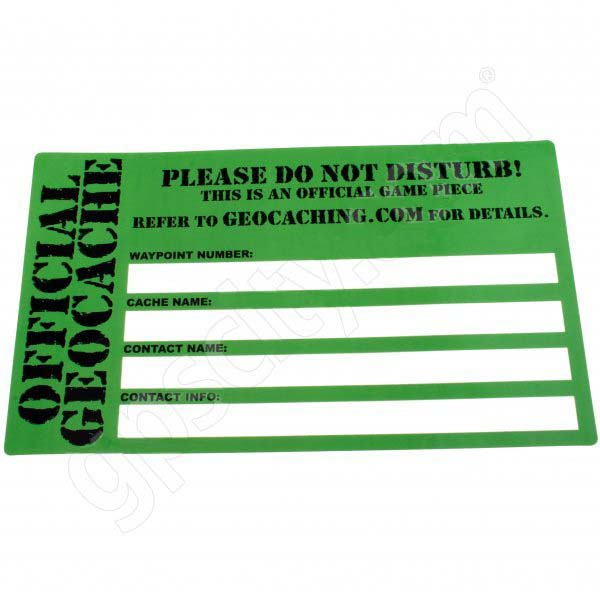 Cache etikett Stor
