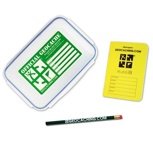 Geocache Stor med loggbok og blyant
