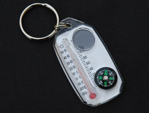 Nøkkelring med: Kompass / Forstørrelses glass / Termometer