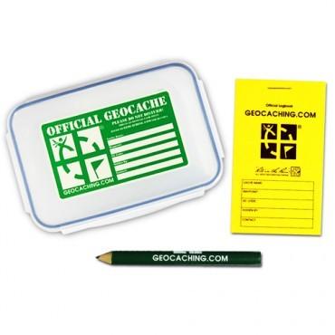 Geocache medium med loggbok og blyant