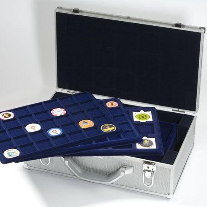 Myntskuff med 15 rom, 50x50 mm, blå, 2 pk