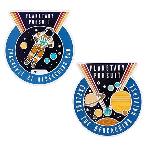 Planetary Pursuit Geocoin med tilhørende Tag