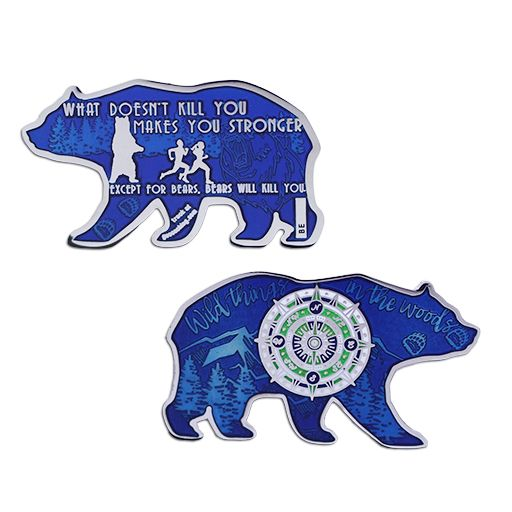 Bear Geocoin- Blue with Nickel LE