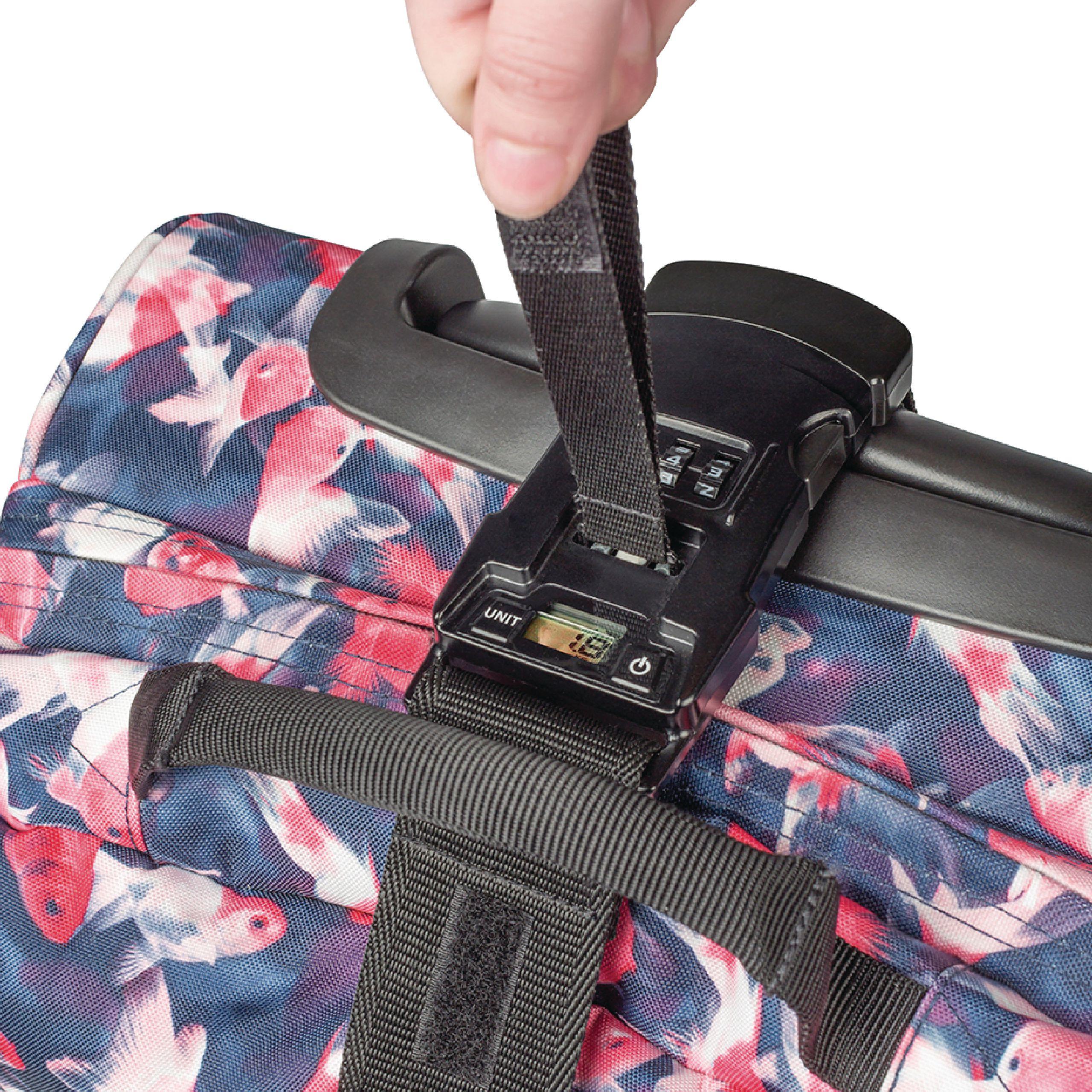 3-i-1 bagasjestropp, innebygd vekt og lås